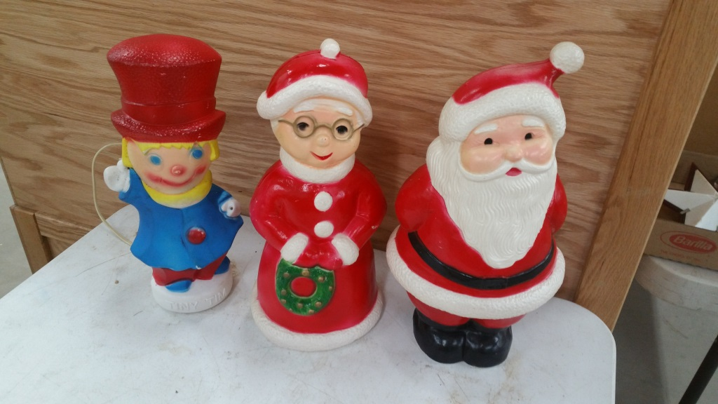 Tiny Tim, Mr & Mrs Clause Blow Molds