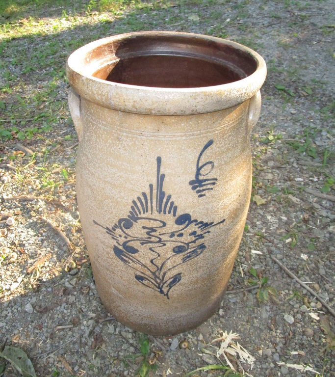 Decorated Crock Cracked