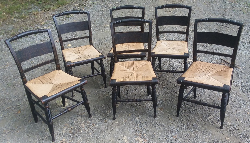 Set Of 6 1860s All Original Decorated Chairs