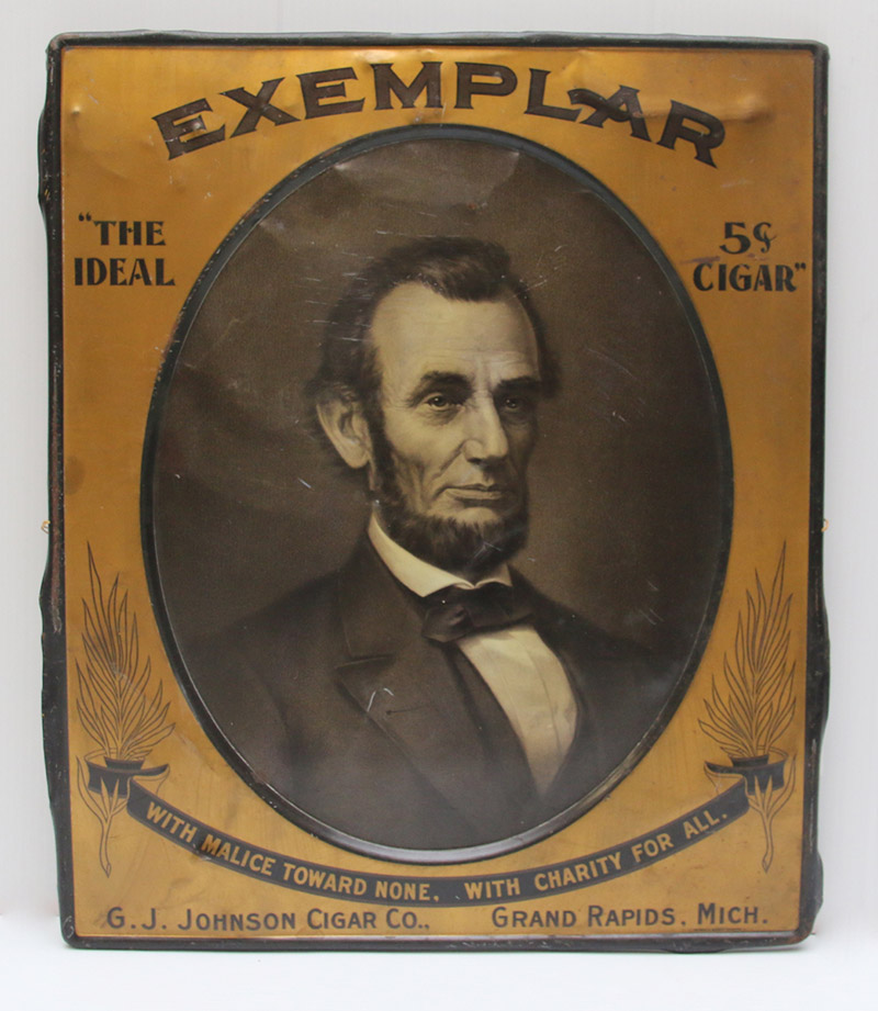 Tin Lithograph Advertising Sign With Abraham Lincoln
