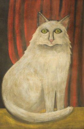 Folk Art Cat Painting (Unsigned)