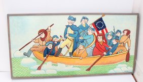 "Jack Savitsky ""Washington Crossing The Delaware"" Painting"