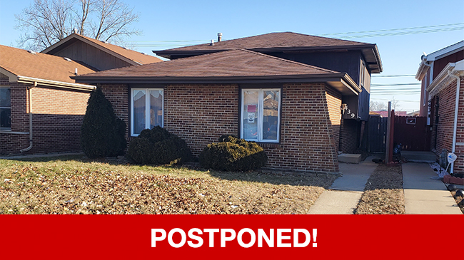 POSTPONED – Online Auction: Single Family Home (439 S. Hoxie Avenue) In Calumet City, Illinois