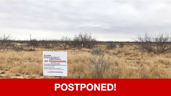 POSTPONED – Live Auction: Vacant Land (42.53 Acres In Bates Airport Subdivision) In Midland, Texas