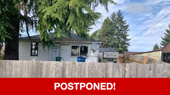 POSTPONED – Live Auction: Single Family Home (234 SW 137th Street) In Burien, Washington