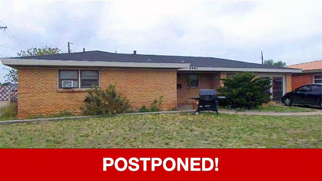 POSTPONED – Live Auction: Single Family Home (4201 Winchester Avenue) In Odessa, Texas