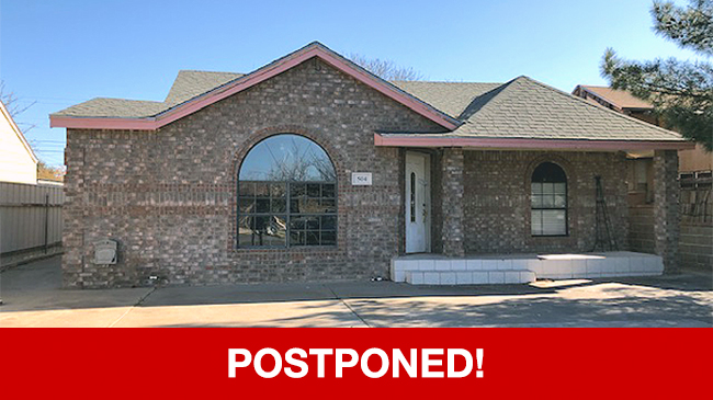 POSTPONED – Live Auction: Single Family Home (504 McKinney Avenue) In Odessa, Texas