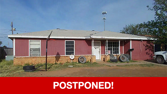 POSTPONED – Live Auction: Single Family Home (4611 N. Jackson Avenue) In Odessa, Texas