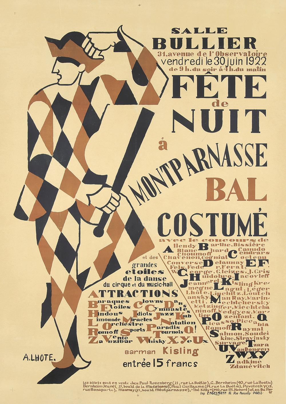 345. Salle Bullier / Fete du Nuit à Montparnasse Bal Costumé. 1922.