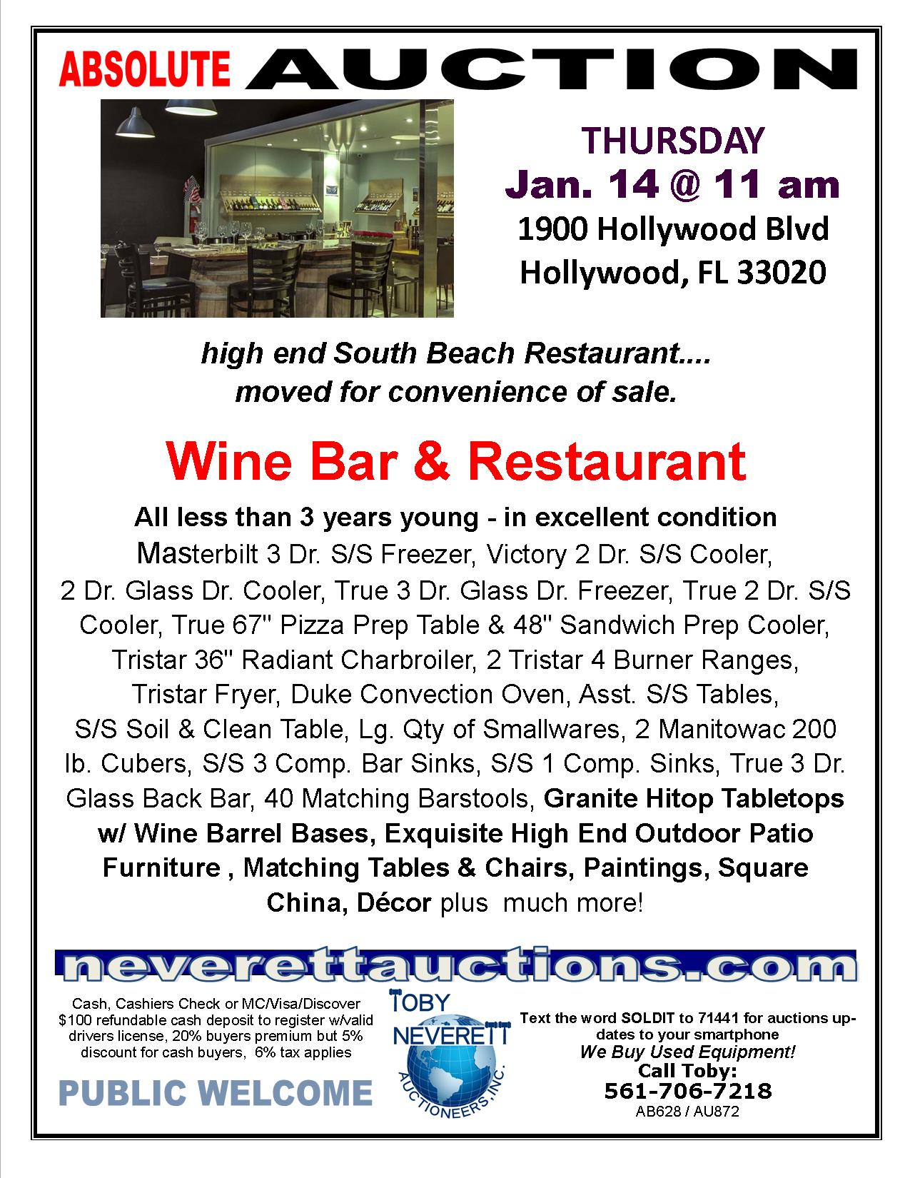 FLYER FOR Jan Auction, Wine Bar Trn