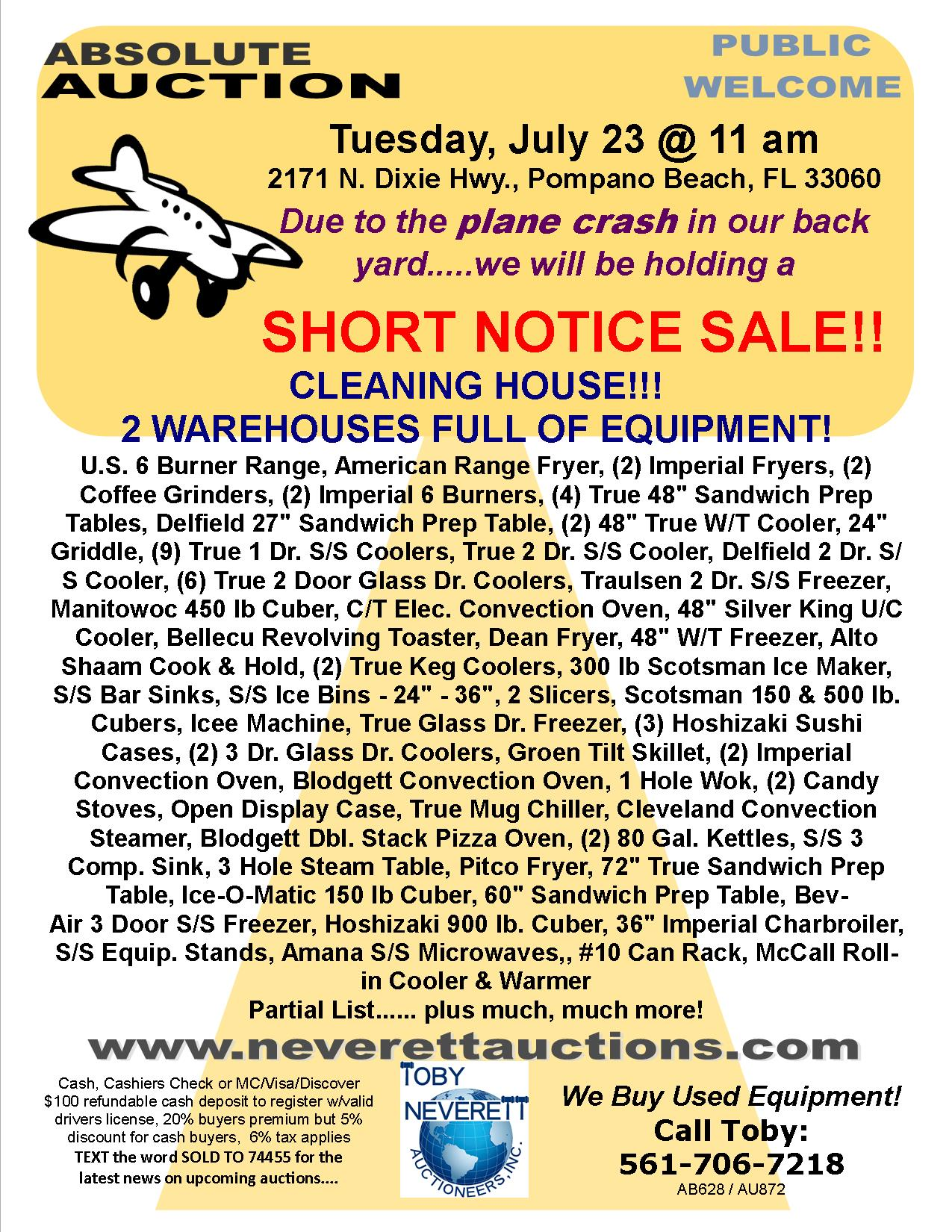 Flyer For July Auction