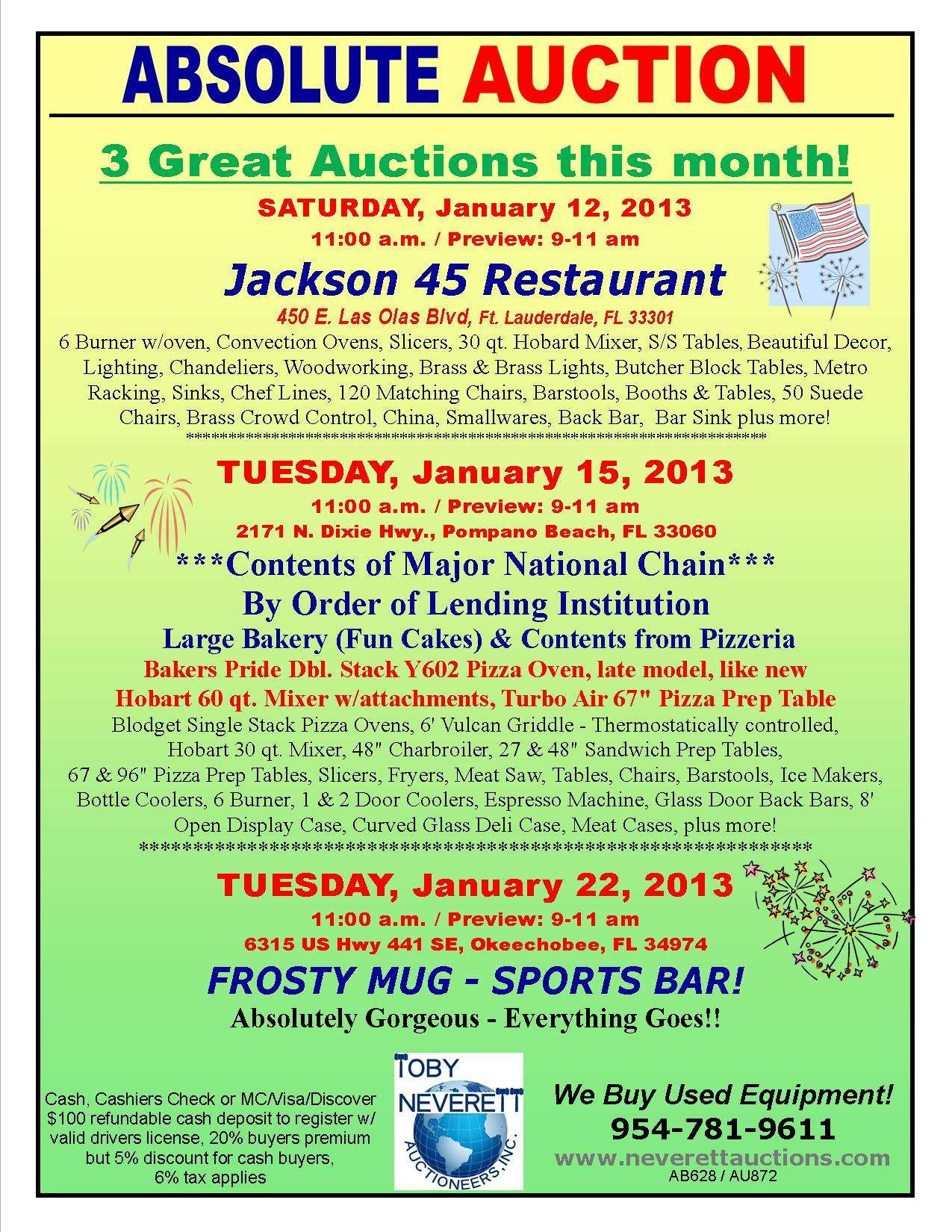Jan. Flyer For 3 Auctions