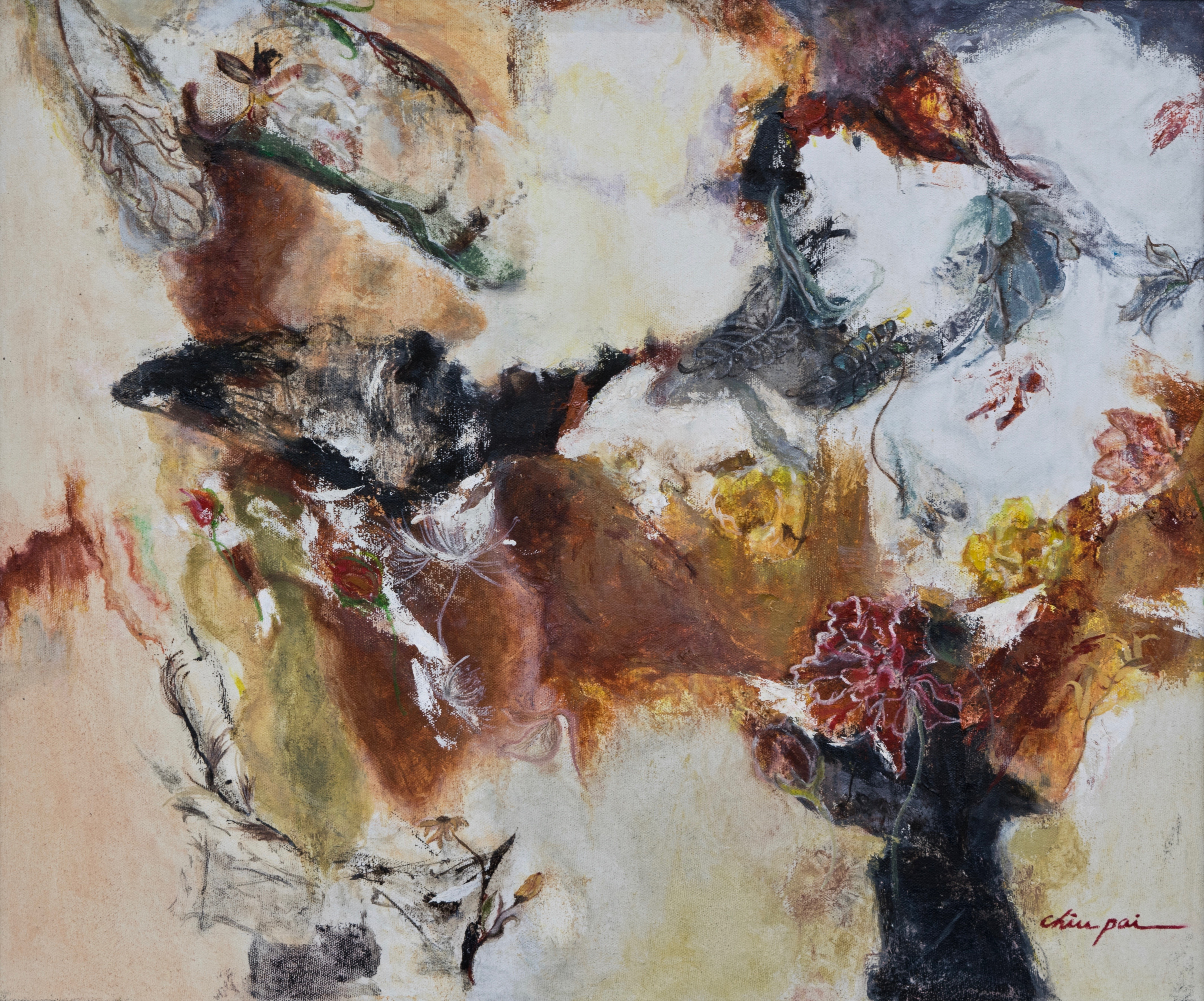 """Lot 02: Chiu Pai, THE SHADOW OF THE AUTUMN (2016), Oil on canvas, 20 x 24"""" Estimate: $1000-1500"""