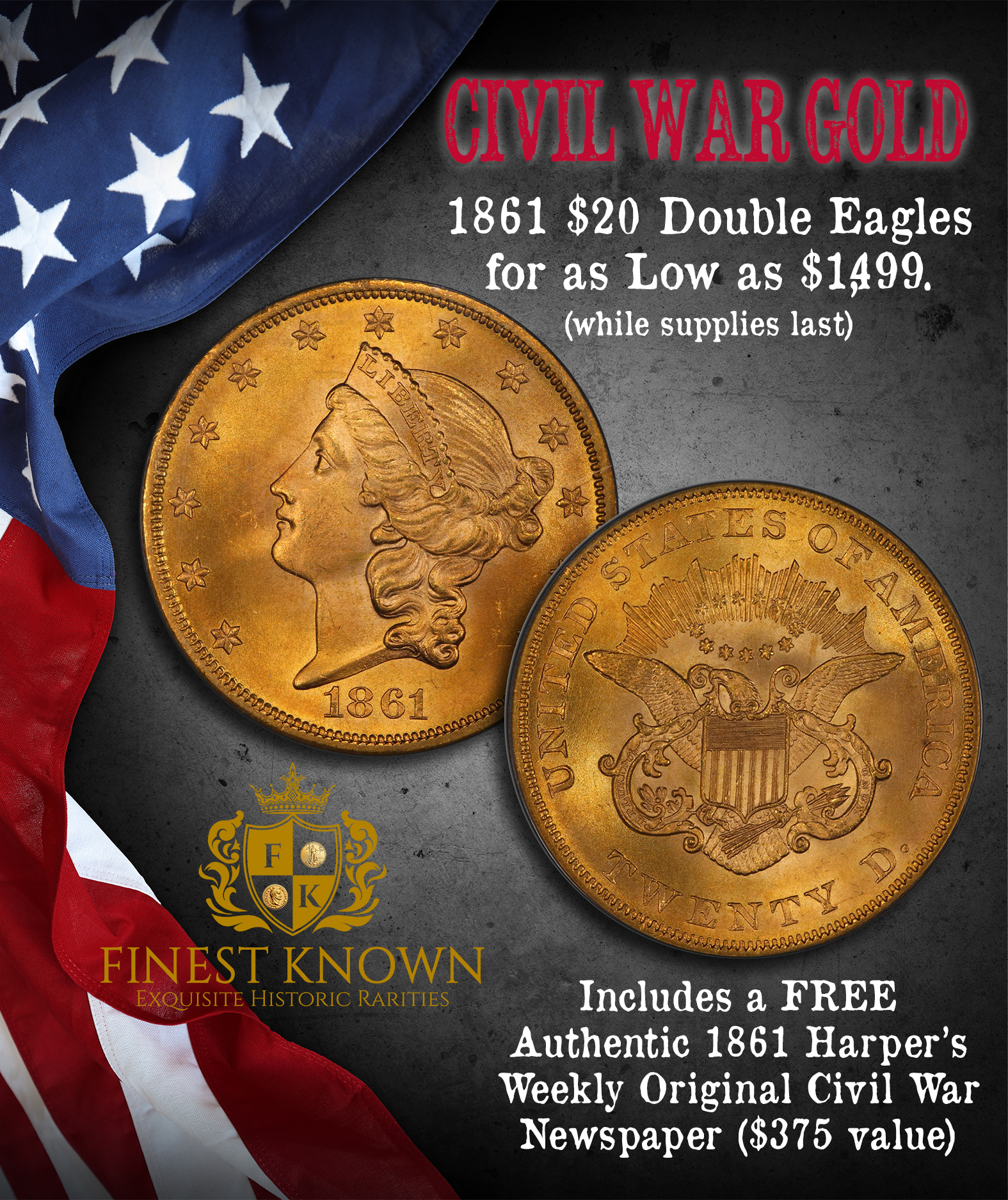 1861-War-Hoard-$20-Gold-Double-Eagles-Coins