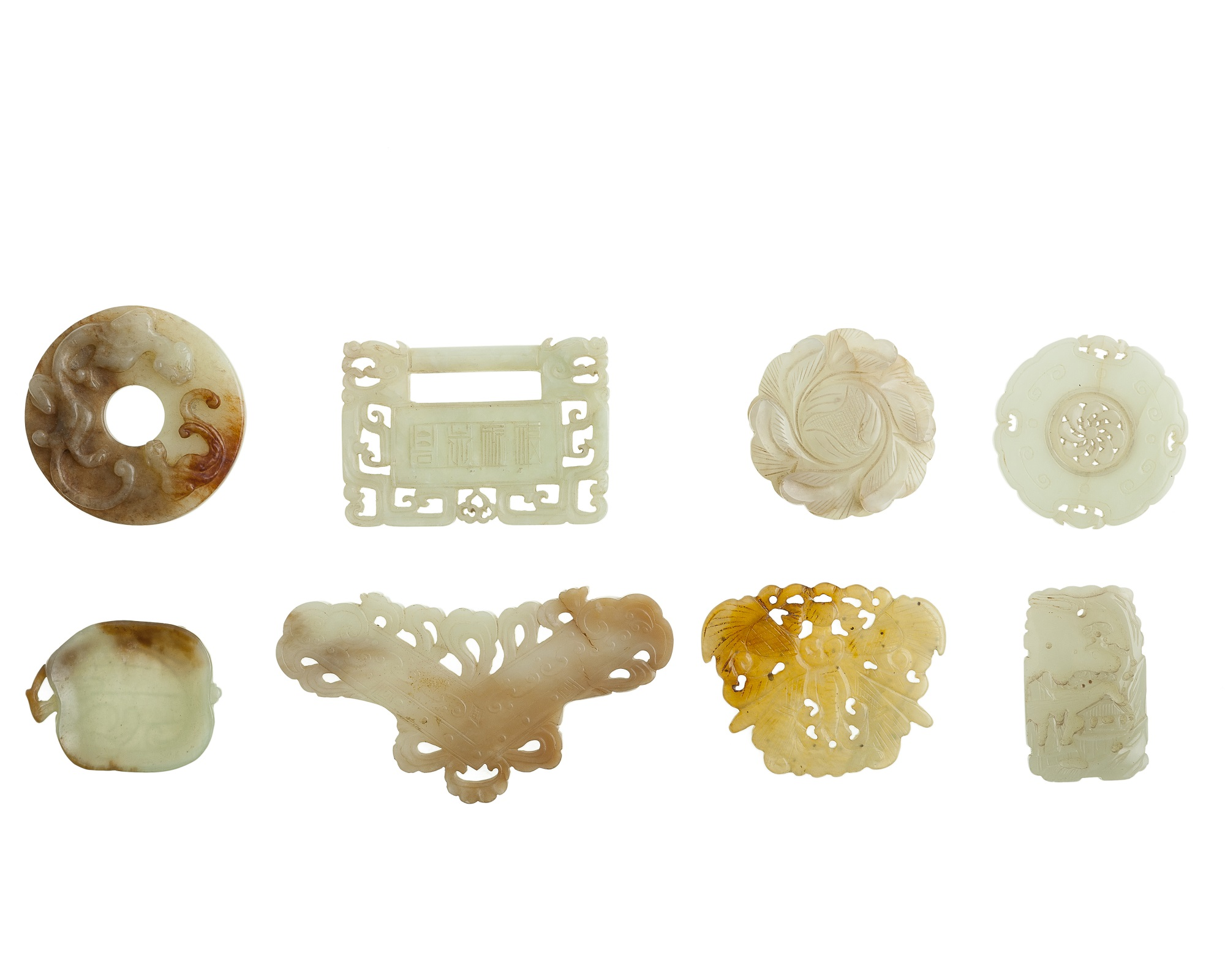 Eight Chinese carved jade items