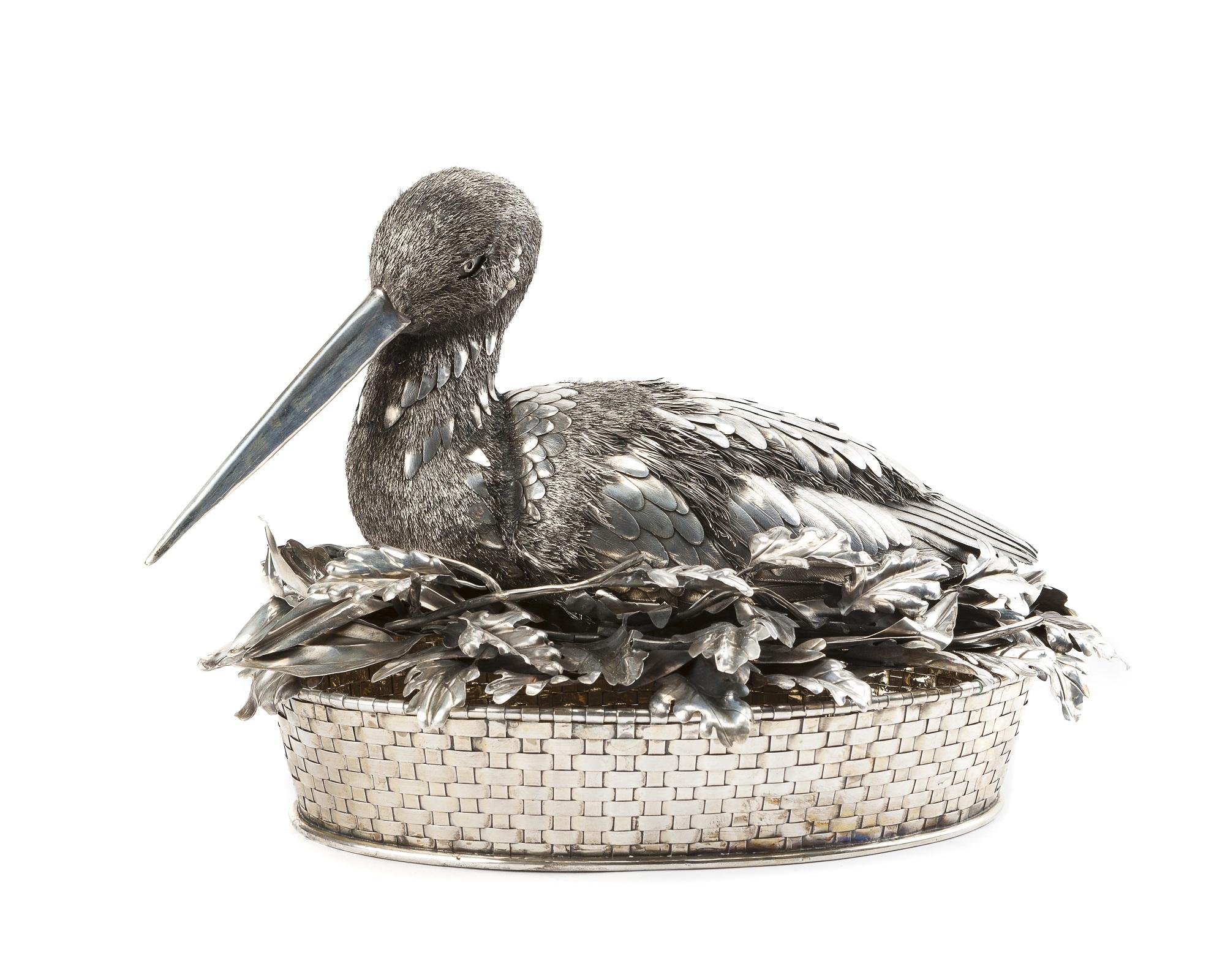 A Buccellati bird-form centerpiece basket