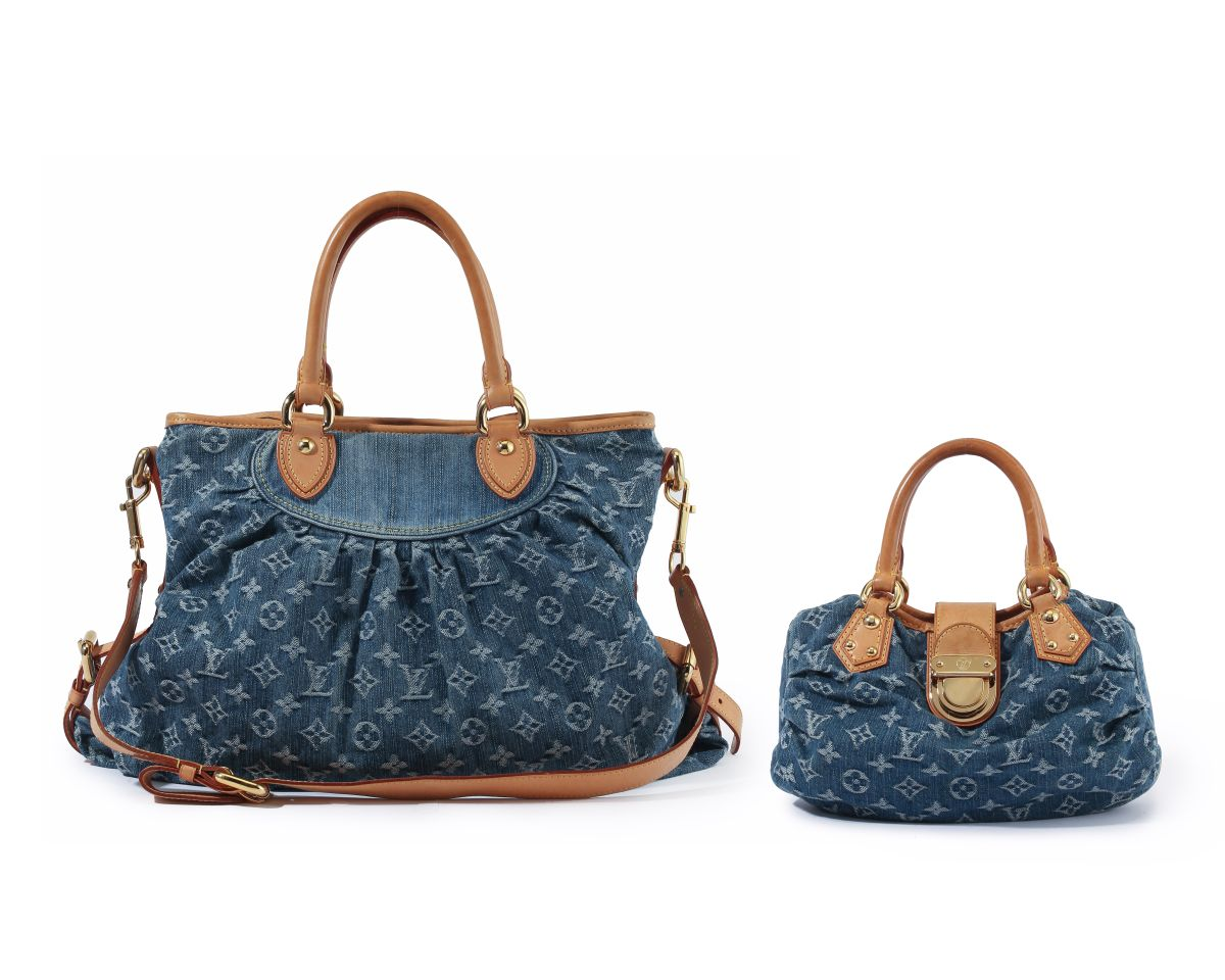 Two Louis Vuitton Monogram denim shoulder bags