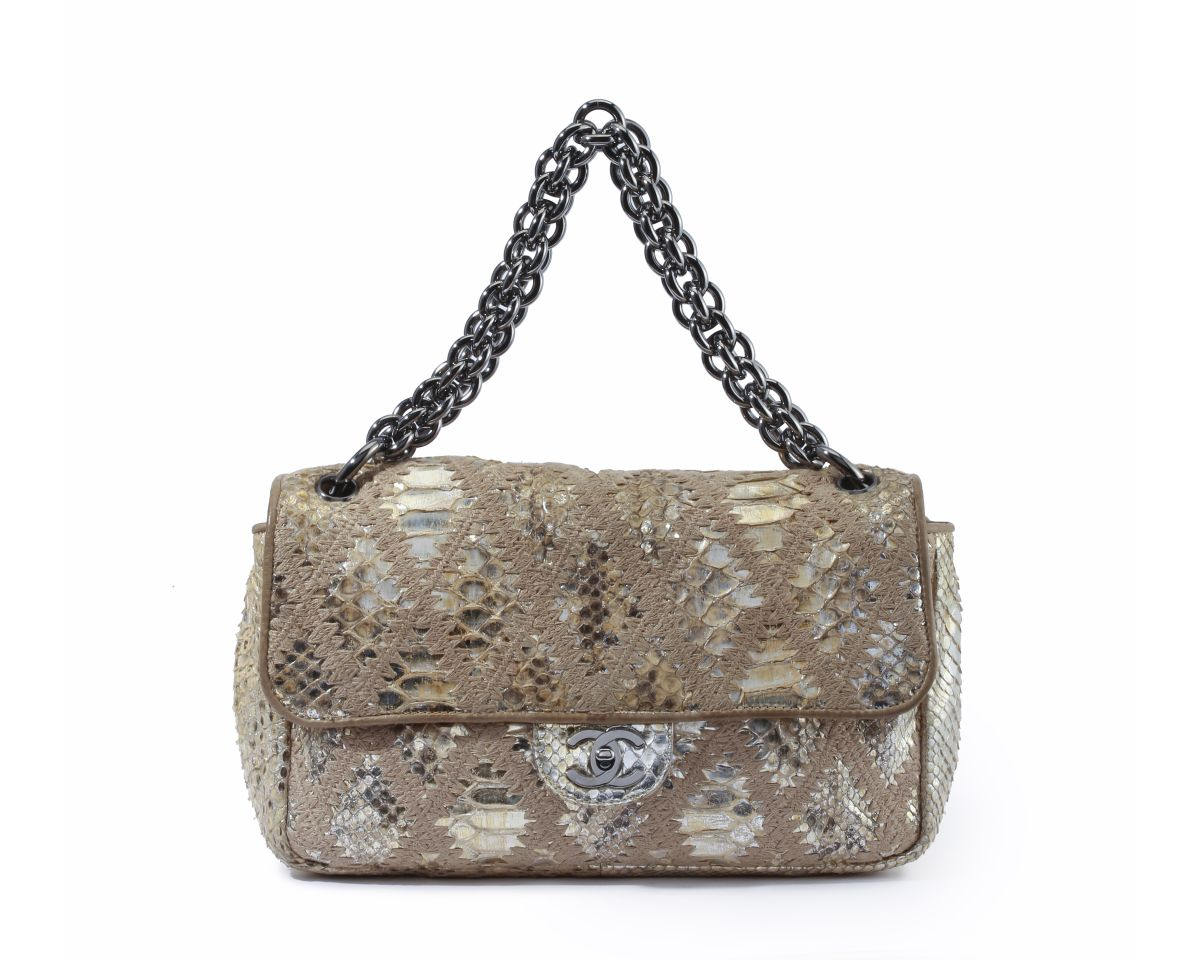 A Chanel Soft and Chain python crochet bag