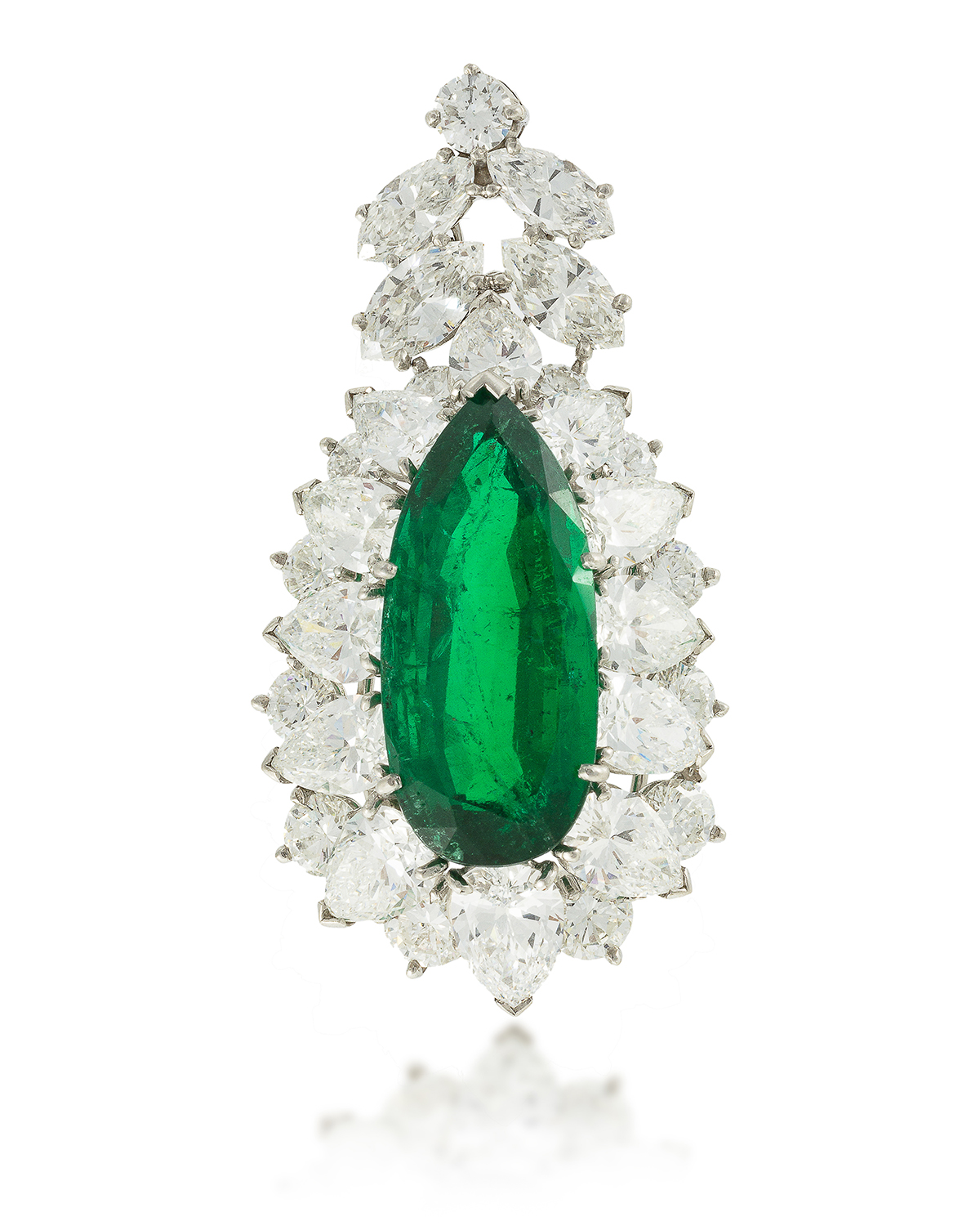 A Colombian emerald and diamond pendant