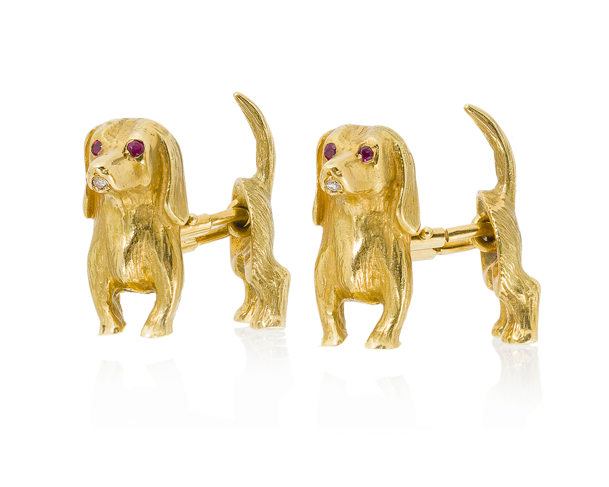 A pair of French gem-set dachshund cufflinks, Cartier