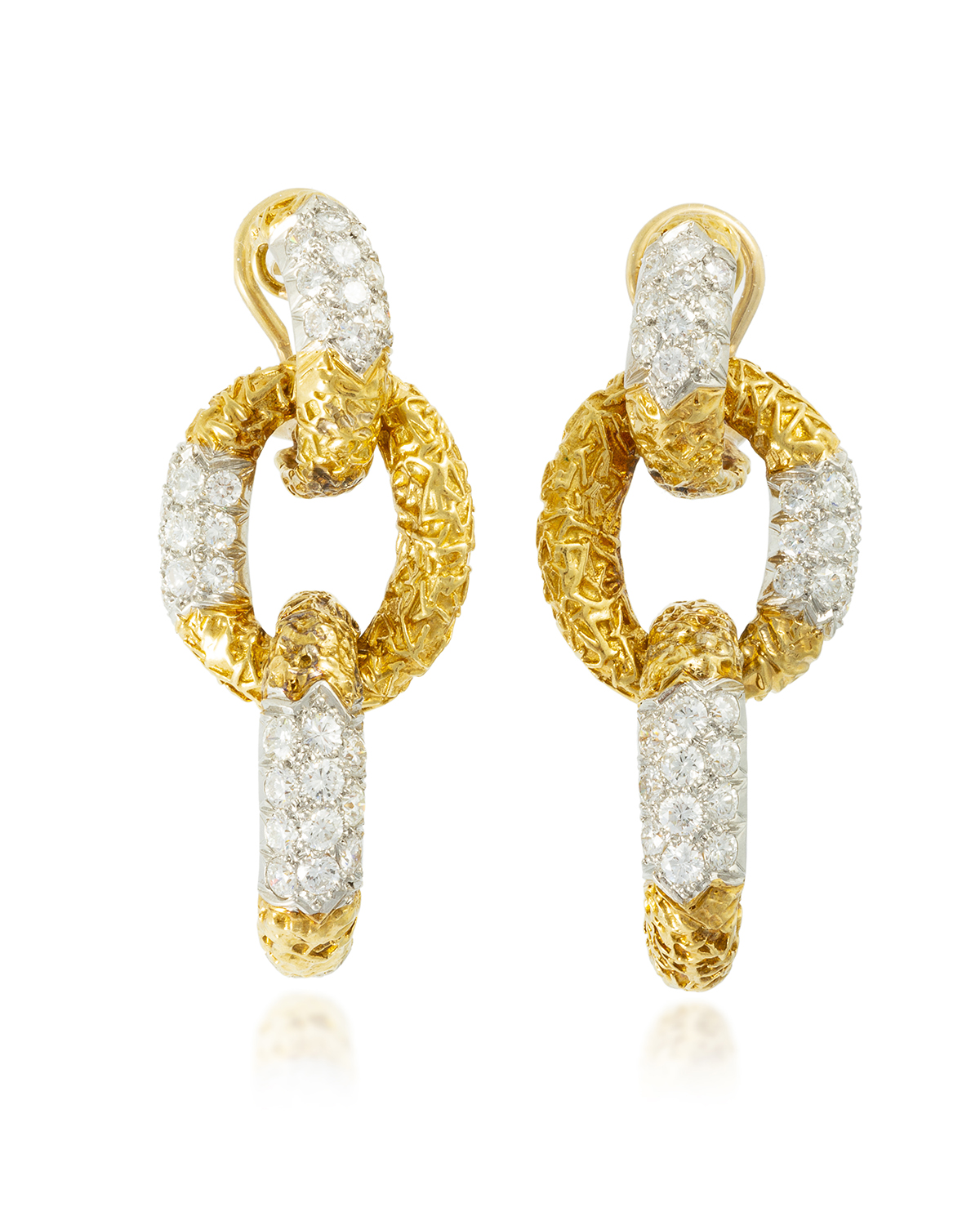 A pair of diamond and gold ear pendants, Van Cleef & Arpels