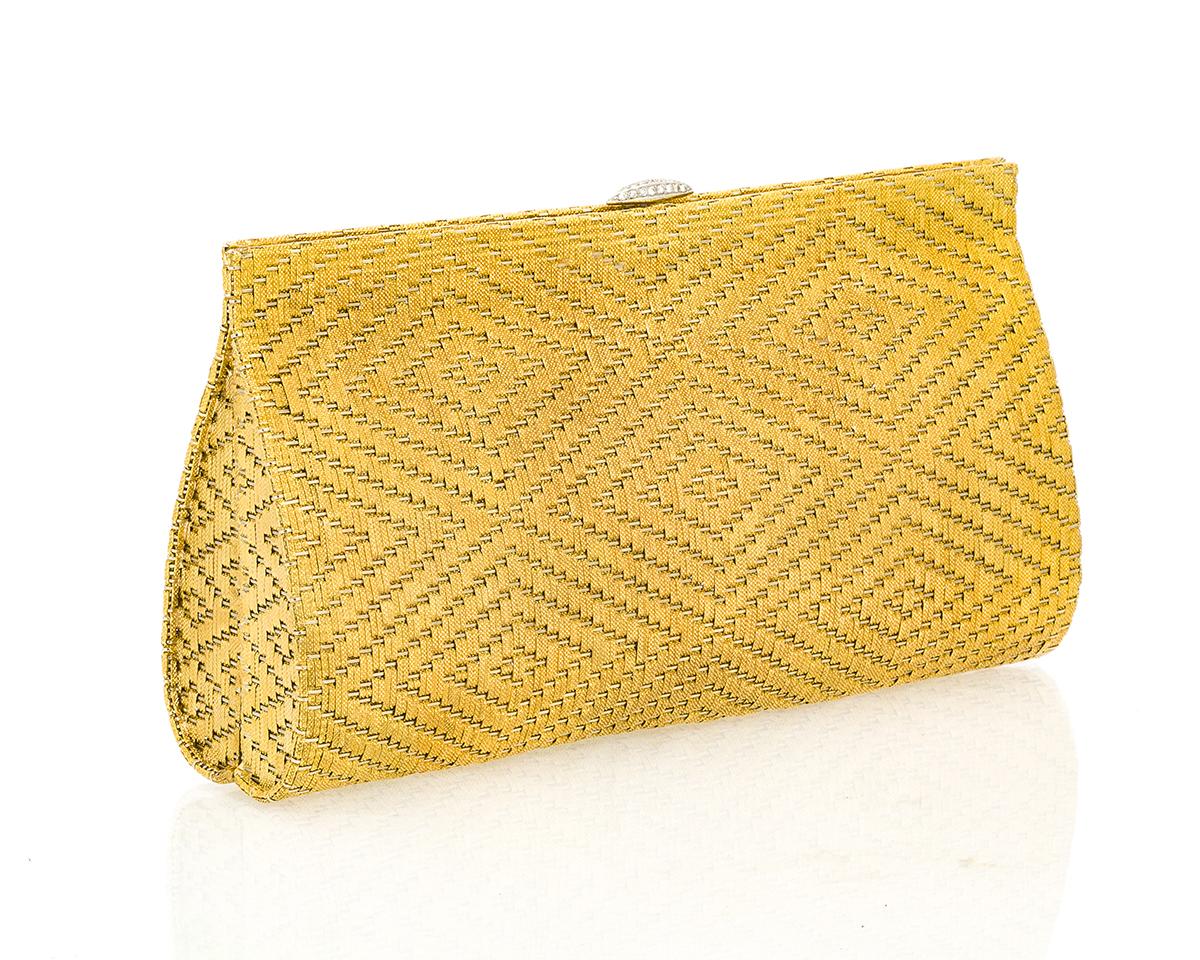 An 18k yellow gold woven clutch