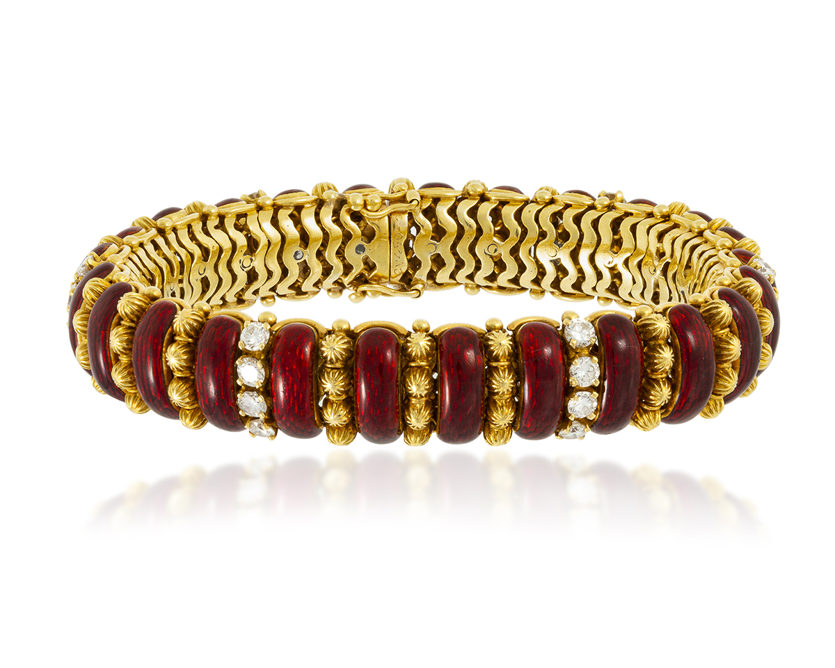 An Italian red enamel and diamond bracelet, Van Cleef & Arpels