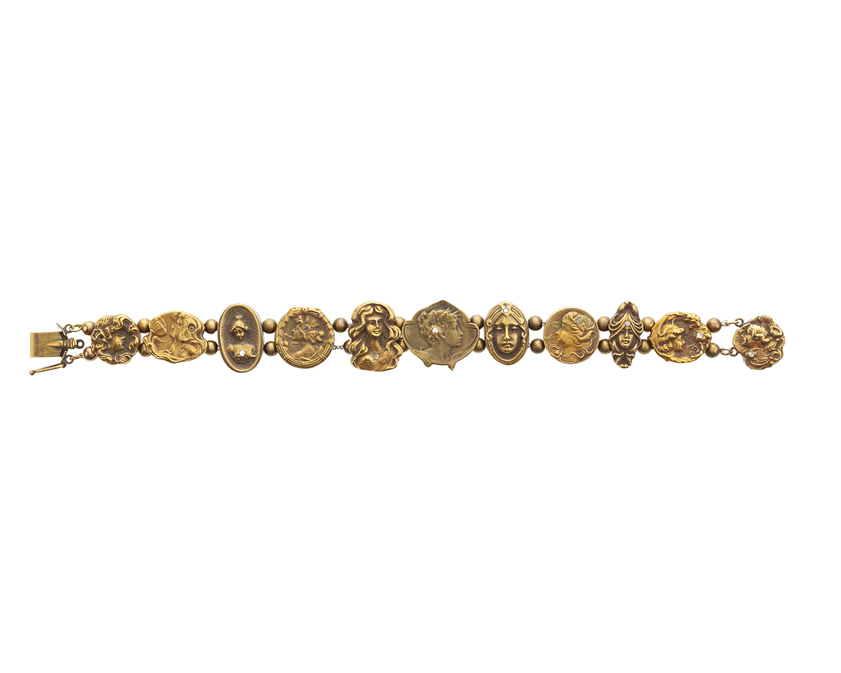 An Art Noveau 14K yellow gold slide bracelet