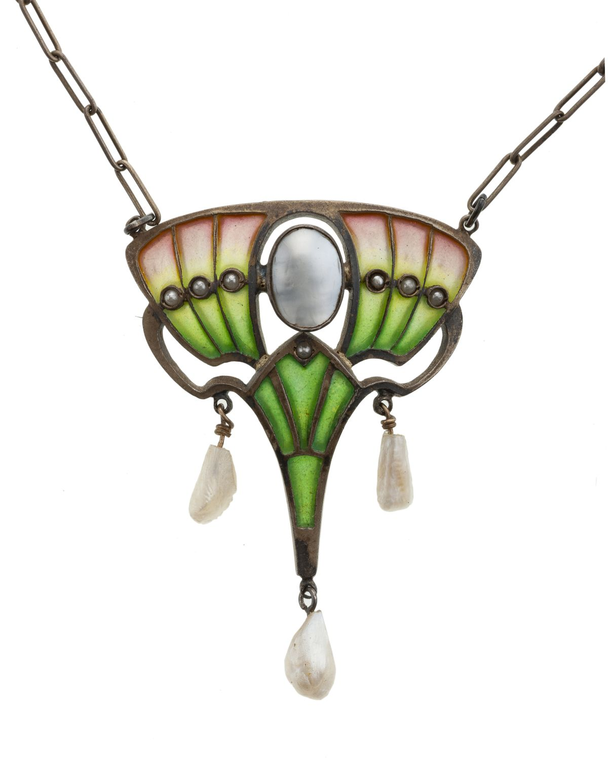 An Art Nouveau plique-a-jour necklace, Heinrich Levinger