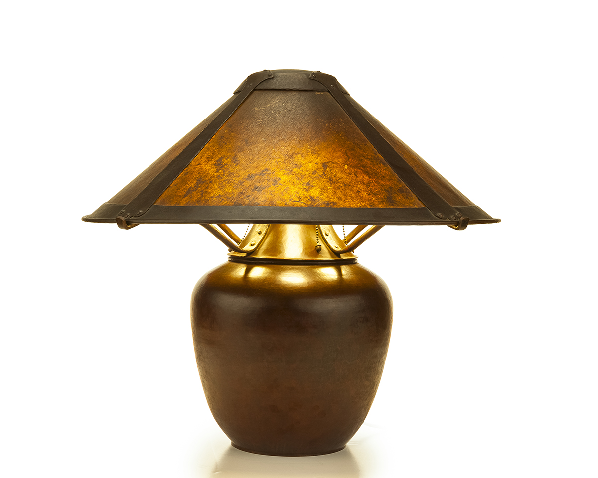 A Dirk van Erp hammered copper table lamp