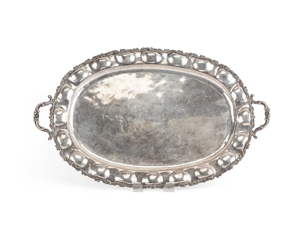 A large Mexican sterling silver tray