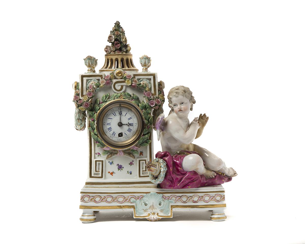 A Meissen porcelain mantel clock