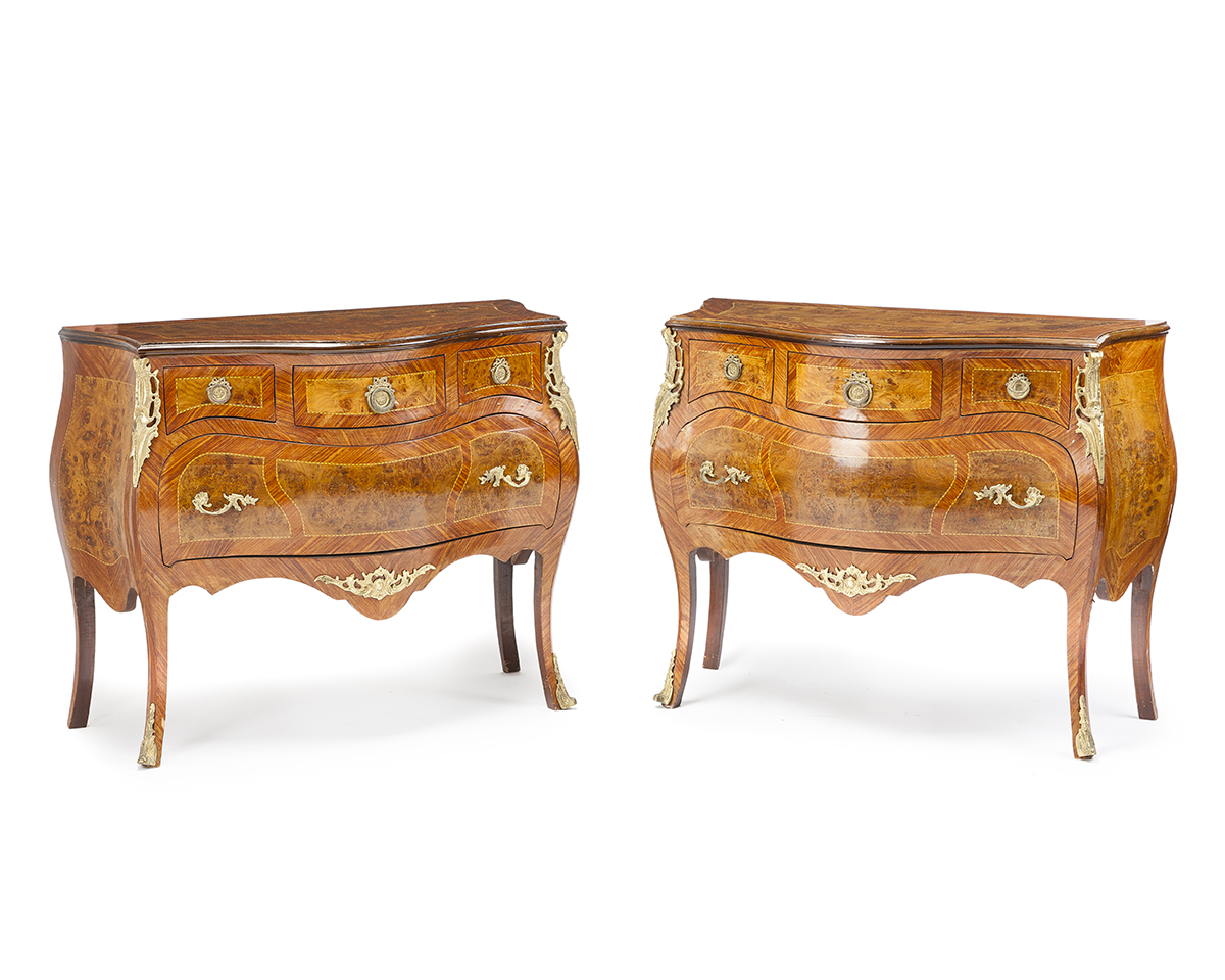 A pair of Louis XV-style marquetry commodes