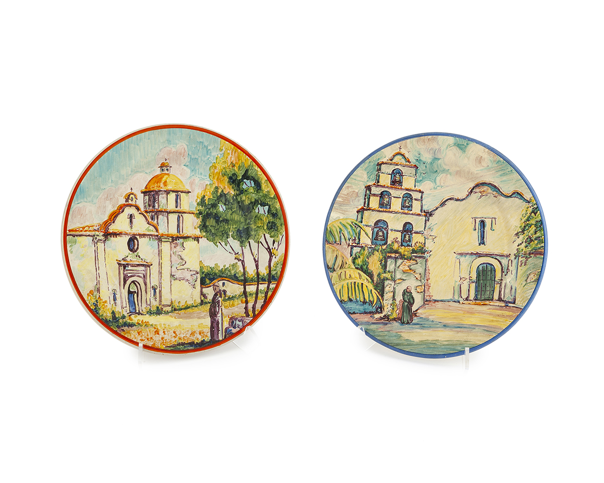 A pair of California Mission plates, Catalina Pottery