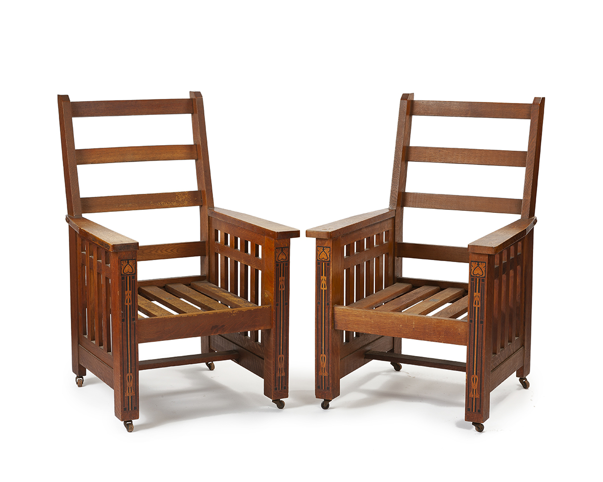 "A pair of Shop of the Crafters ""Mission Morris"" chairs"