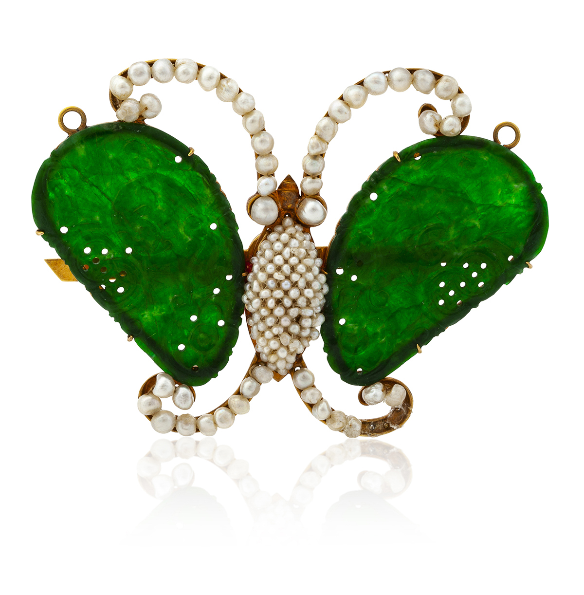 A Chinese jadeite and seed pearl butterfly brooch