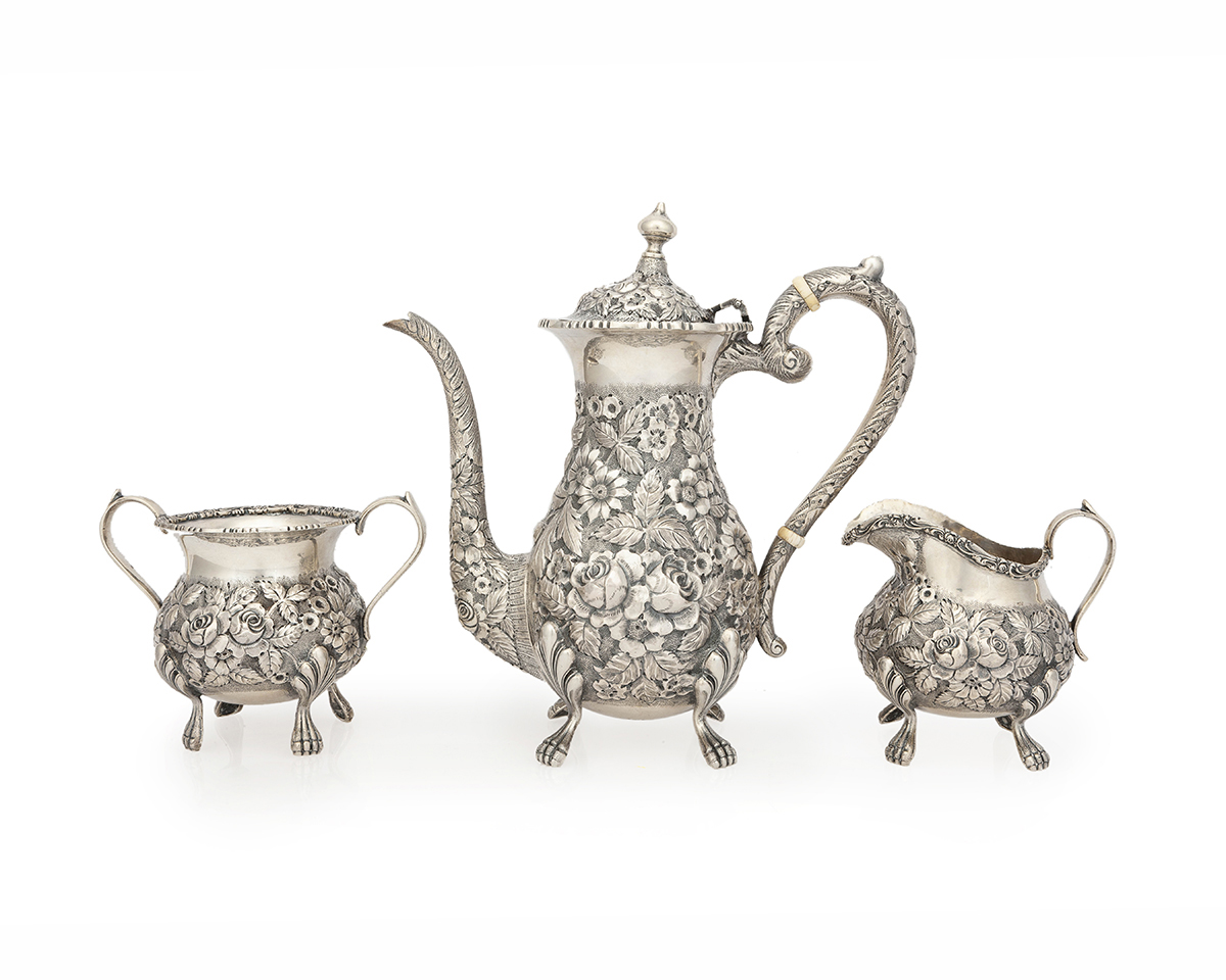 "A ""Baltimore Rose"" sterling silver tea set, Schofield & Co."
