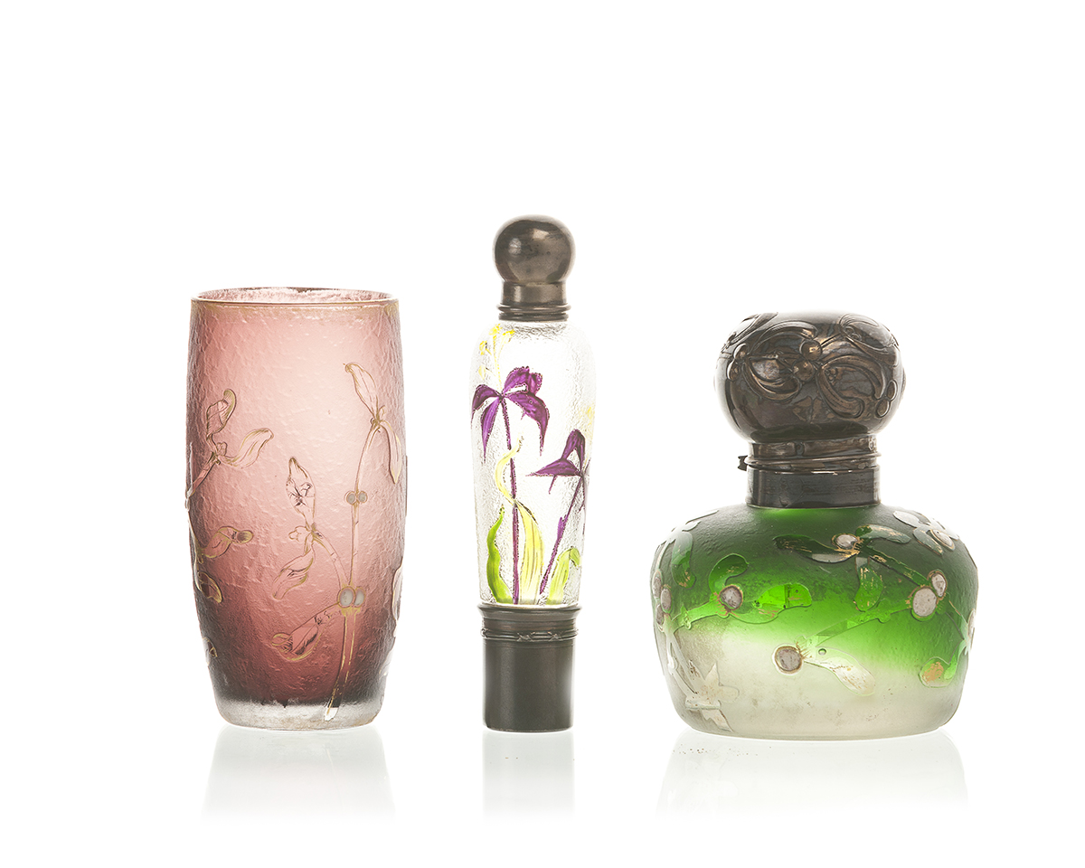 Three French acid cut-back art glass objects