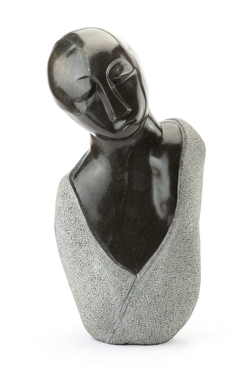 A contemporary African black stone sculpture