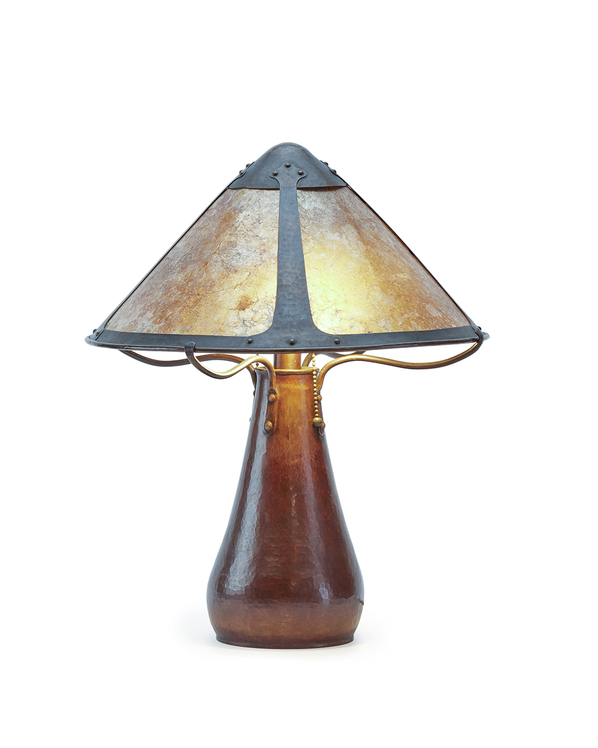A hand hammered Dirk Van Erp table lamp with mica shade