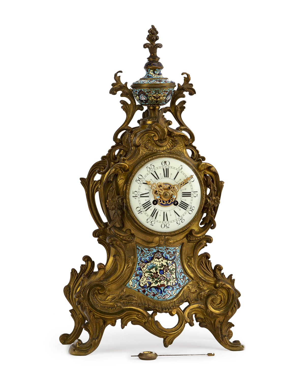 A French bronze and champleve mantle clock