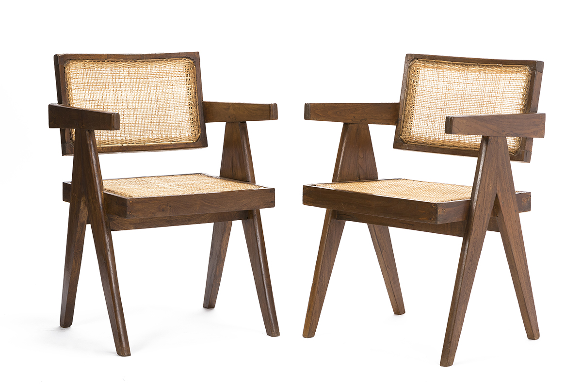"""A pair of Pierre Jeanneret PJ-SI-28-A """"office cane chairs"""""""