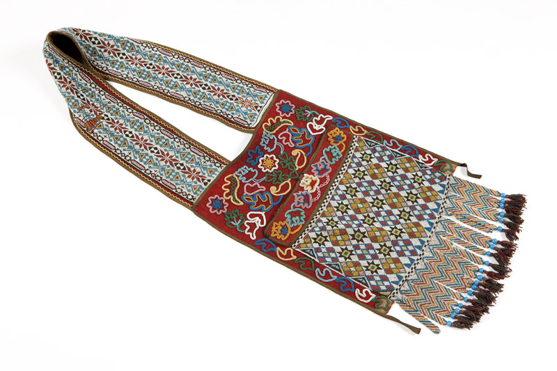 An Eastern Woodlands beaded bandolier bag