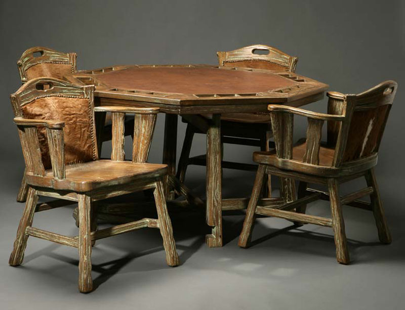 "An A. Brandt ""Ranch Oak"" poker table and chairs"