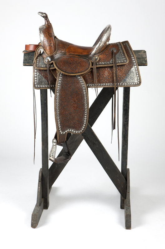 A Brydon Bros. silver-mounted parade saddle
