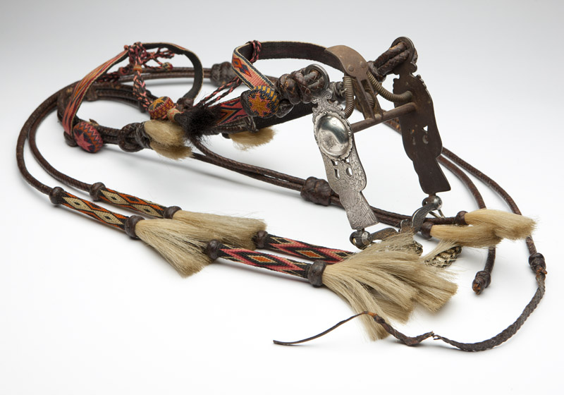 A braided horsehair headstall & silver-inlaid bit