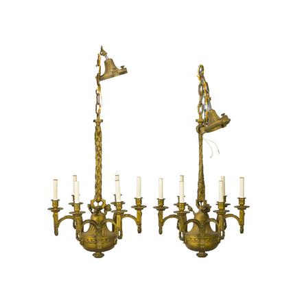A pair of cast bronze French Louis XVI-style hanging fixtures