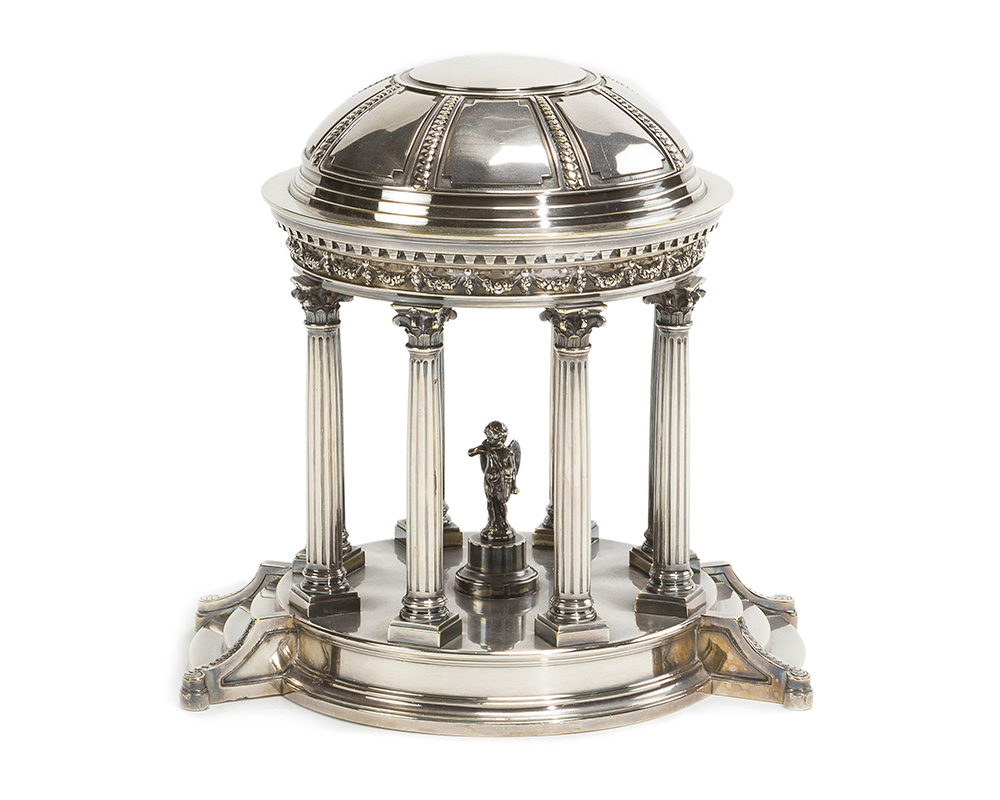 An English silver plated objet d'art