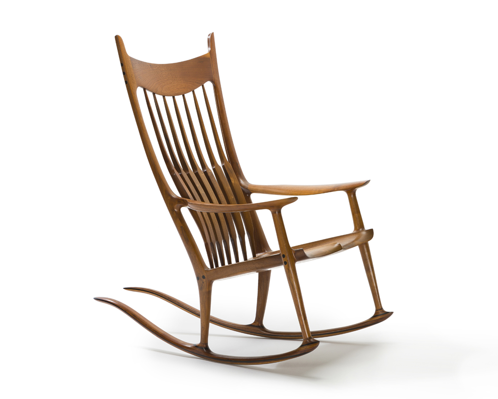 A Sam Maloof spindle-back rocking chair