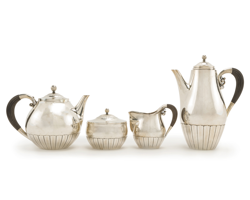 A Georg Jensen Cosmos four piece tea set